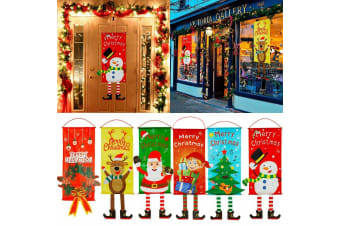 Christmas Hanging Banner Flag Door Window Décor Santa Reindeer Snowman Ornaments - Set of 6