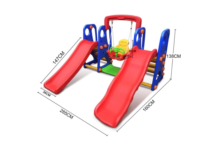 Indoor/Outdoor Side and Swing with Basketball Ring