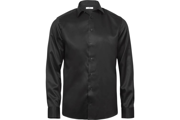 Tee Jays Mens Luxury Comfort Fit Long Sleeve Oxford Shirt (Black) (L)