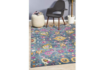 Blue & Multi Floral Field Vintage Look Rug 230X160cm