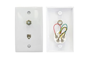TV Wall Plate With Telephone 6P4C- 'F' Socket To 'F' Socket