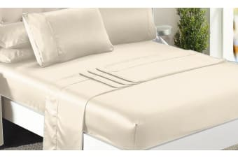 1000TC Silk Satin Single/KS/Double/Queen/King Fitted Flat Pillowcase Sheet Set  -  IvoryQueen