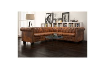vidaXL Chesterfield Corner Sofa 5-Seater Artificial Leather Brown
