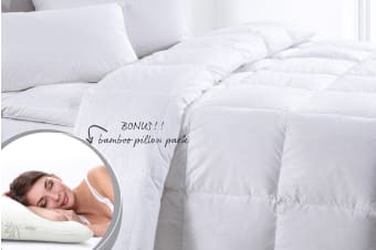 Bamboo 350GSM Quilt + Twin Pack Bamboo Pillows (Single)