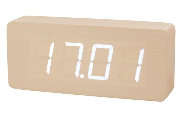 White Led Wooden Alarm Clock Temperature Display Battery