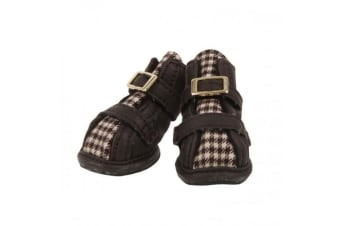 Puppia Houndstooth Dog Shoes (A-Type) (Set Of 4) (Brown) (1)