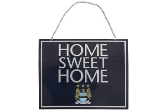 Manchester City FC Official Metal Home Sweet Home Football Crest Sign (Blue)