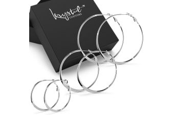 Boxed 3pr Semi Flattened White Gold Hoop Earrings Set-White Gold