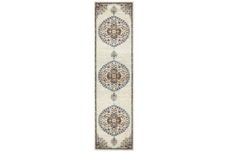 Ivory & Multi Medallion Vintage Look Runner 300X80cm