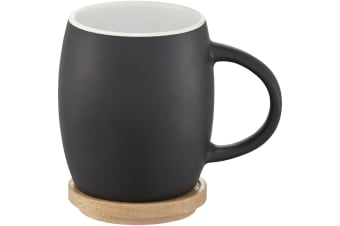 Avenue Hearth Ceramic Mug With Wood Lid/Coaster (Pack of 2) (Solid Black/White) (10.4 x 7.5 cm)