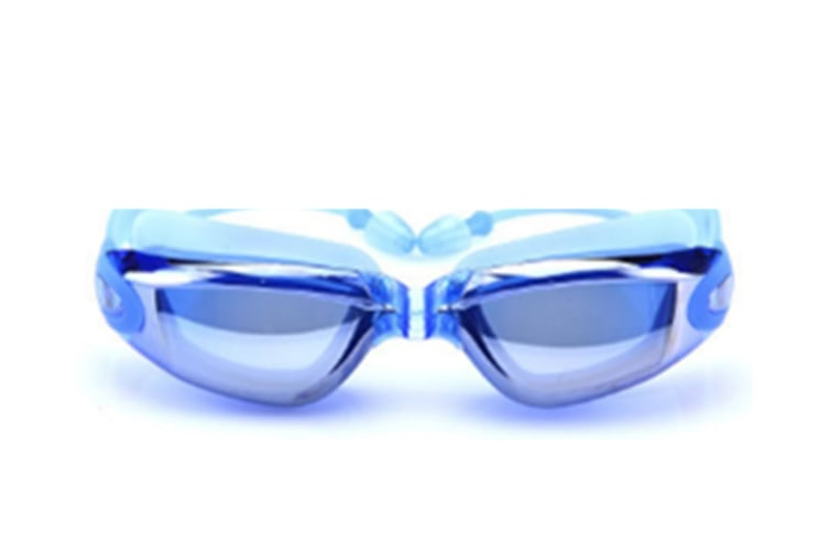 Unisex Adult Waterproof Anti-Fog Uv Protective Electroplating Swimming Goggles Glasses Blue