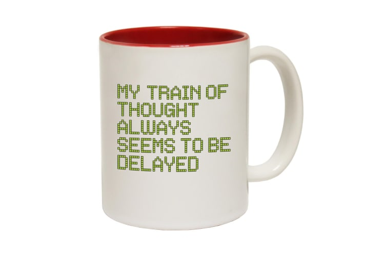 123T Funny Mugs - My Train Thoughts - Red Coffee Cup