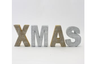 Set of Gold & Silver Jewelled Christmas XMAS Block Words Sign Decoration 46cm