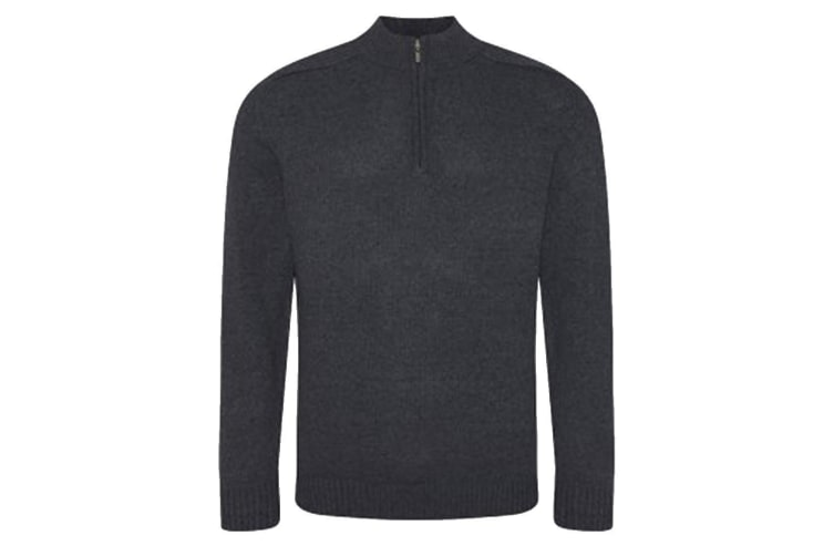 Ecologie Mens Wakhan Zip Neck Sweater (Charcoal) (S)