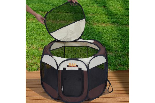 Portable Pet Playpen with Collapsible Bowl in BROWN 30""