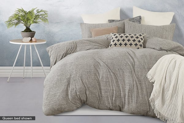 Gioia Casa Jersey Cotton Quilt Cover (Single/Grey Marble)