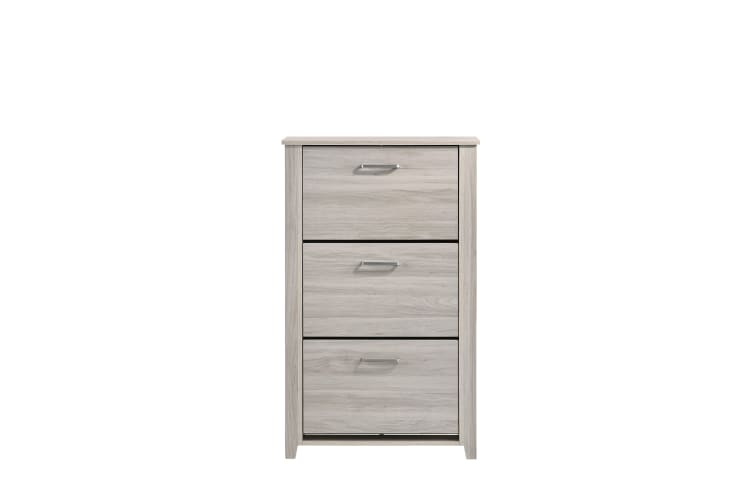Shoe Cabinet 3 Drawers Compartment Storage - White Oak