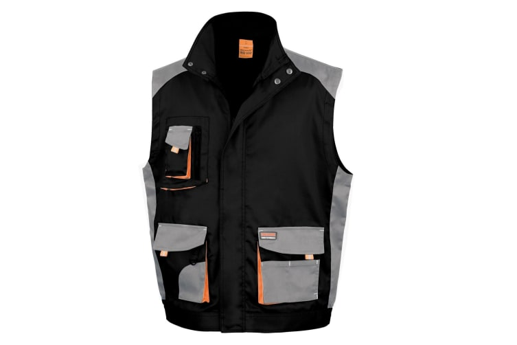 Result Mens Work-Guard Lite Workwear Gilet / Bodywarmer (Breathable And Windproof) (Black / Grey / Orange) (2XL)
