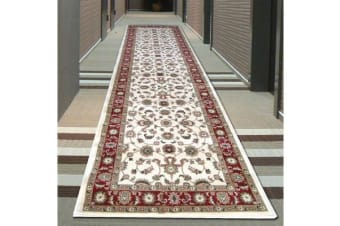 Classic Runner Ivory with Red Border 300x80cm