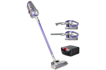 Devanti 120W Handstick Bagless Cordless Vacuum Cleaner with Spare Battery (Purple/Grey)