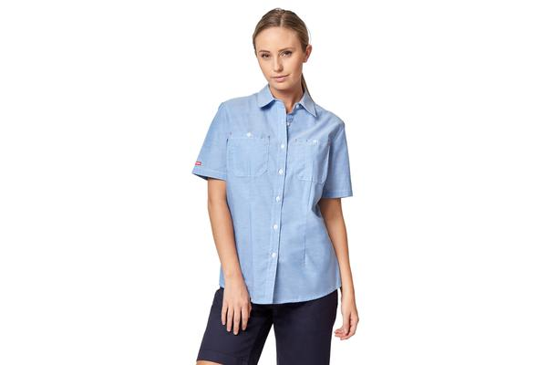Hard Yakka Foundations Short Sleeve Chambray Shirt (Blue, Size 16)