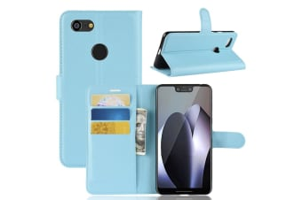 For Google Pixel 3 XL Leather Wallet Case Blue Lychee Leather Cover Card Slots