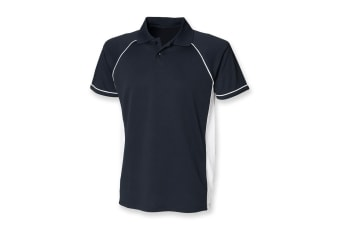 Finden & Hales Mens Panel Performance Sports Polo T-Shirt (Navy/White) (S)