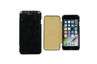 For iPhone 8 7 Case Fierre Shann Genuine Protective Leather Flip Cover Black