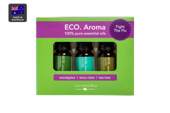 ECO. Aroma Fight the Flu Essential Oil Trio (Eucalyptus, Sinus Clear & Tea Tree)