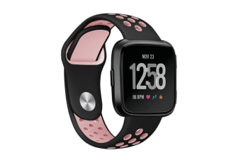 Fitbit Versa Bands Sport Silicone Breathable Strap Replacement Black&Pink