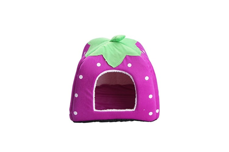 Strawberry Style Sponge House Pet Bed Dome Tent Warm Cushion Basket Purple S