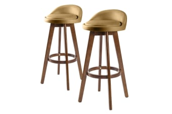 2x Oak Wood Bar Stool 72cm Leather LEILA - COFFEE BROWN