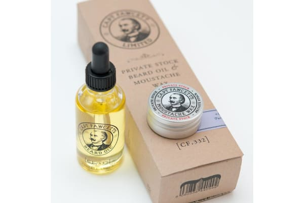 Capt Fawcett's Beard Oil & Moustache Wax Gift Set - Private Stock