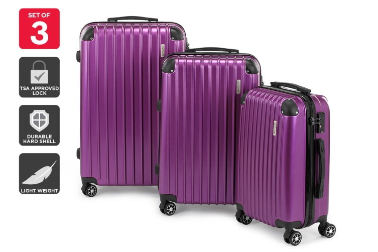 Orbis 3 Piece Tahiti Spinner Luggage Set (Electric Purple)