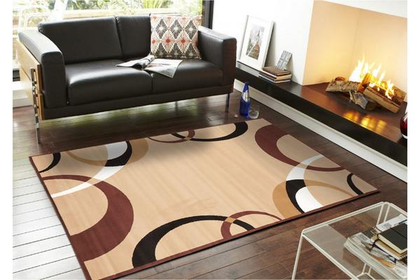 Cool Beige and Brown Border Pattern Rug 280x190cm