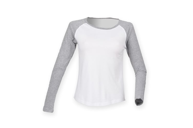 Skinnifit Womens/Ladies Long Sleeve Baseball T-Shirt (White / Heather Grey) (M)