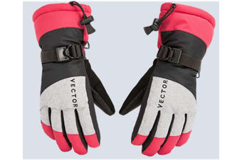 Ski Gloves,Winter Warm Waterproof Snow Gloves For Skiing,Snowboarding Rose Red S