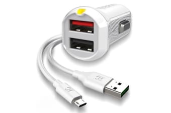 EFM 17W Dual Car Charger with Micro USB Cable - White