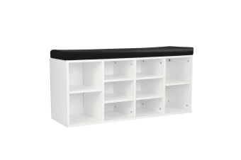 Shoe Rack Cabinet Organiser Black Cushion - 104 x 30 x 45 - White