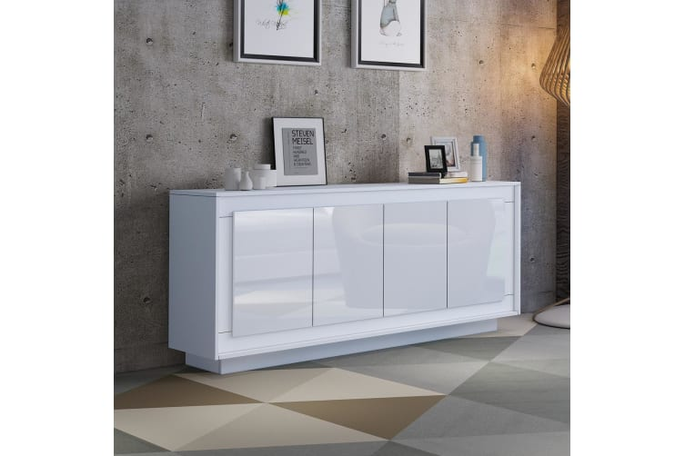 Wooden 4 Doors Sideboard Buffet Table High Gloss Front Wood Cabinet-White