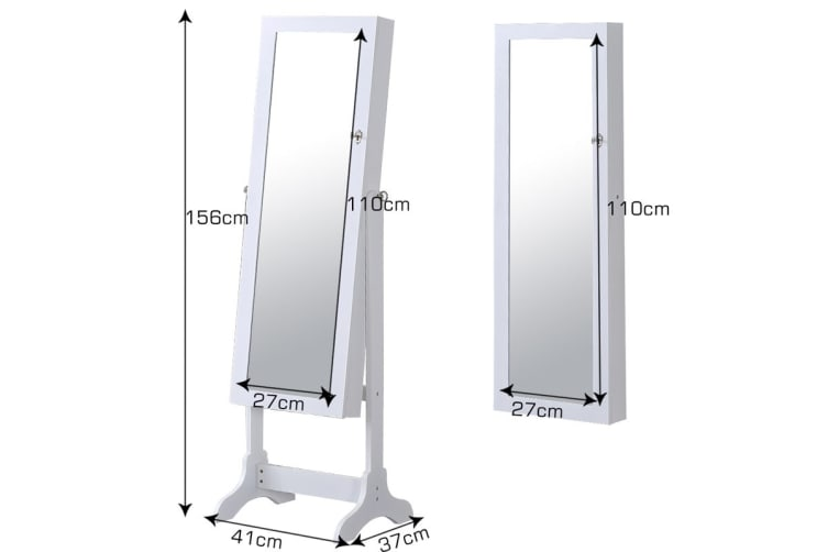 Full Length Mirror Wooden Jewellery Cabinet - White