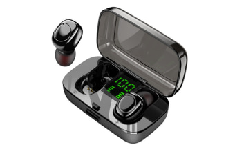 Select Mall Fingerprintable Touch Bluetooth Earphone 5.0 Wireless In-Ear LED Digital Display-Black