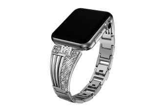 Suitable For Apple Watch Fan-Shaped Stainless Steel Alloy Flash Drill Strap-42/44mm-BLACK