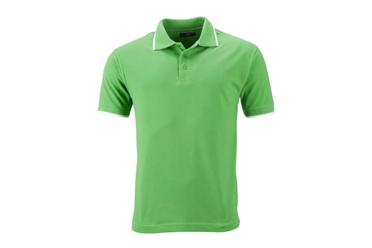 James and Nicholson Unisex Tipping Polo (Lime Green/White) (XL)