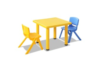 Kids 3 Piece Table and Chairs Playset (Yellow)