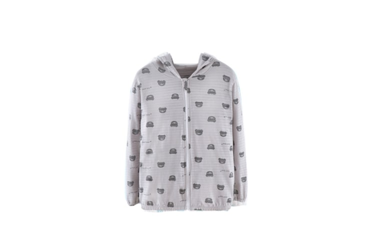 Long Sleeves Hooded Zip Sunscreen Coats Summer For Unisex Toddler Kids - 2 Grey 110Cm