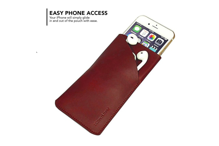 For iPhone 8 7 6S  6 Pouch iCoverLover Real Genuine Leather Bag Reddish Brown