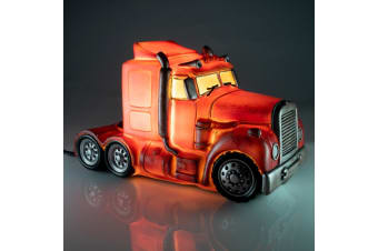 Metal-Look Semi Trailer Truck LED Table Lamp Night Light