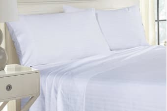 Royal Comfort Striped Bamboo Blend Pillowcase Twin Pack (White)