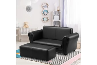 Kidbot Kids 2 Seater Sofa Couch Armchair Children Lounge Chair Double w/Footstool - Black